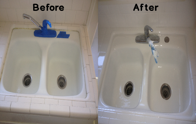 Before and After Sink Reglazing